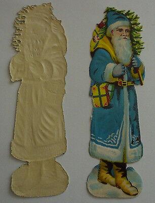 Oblate original antik Weihnachtsmann Nikolaus blau St Claus SCRAPS 16x5 cm KULT