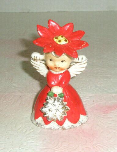 Vintage NAPCO Mini Angel Single Shaker 1CX2248 Poinsettia Hat Snowflake Pigtails