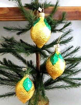 - Set of 3  Sour Lemon Citrus Fruit  Blown Glass Christmas Tree Ornaments  Poland