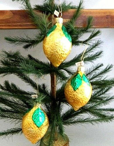 Set of 3  Sour Lemon Citrus Fruit  Blown Glass Christmas Tree Ornaments  Poland