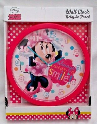 "Disney Minnie Mouse  Pink Round Wall Clock ""always wear a smile"" girls wallclock"