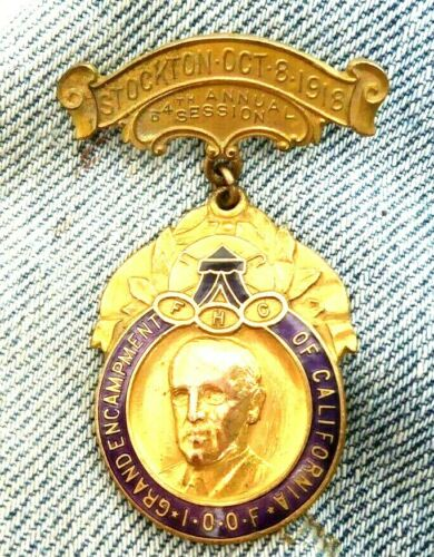 VINTAGE BADGE IOOF INDEPENDENT ORDER OF ODD FELLOWS STOCKTON CA 1918