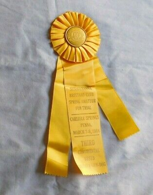 AMERICAN KENNEL CLUB Susquehanna PA 1964 Yellow Dog Puppy Ribbon 3rd place
