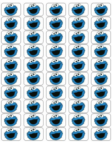 """50 Cookie Monster Envelope Seals / Labels / Stickers, 1"""" by 1.5"""""""