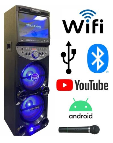 """Blackmore 2x10"""" WiFi BT, USB Party Speaker with 15"""" Android Touch Screen Tablet"""