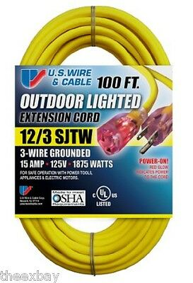 100' 12/3 Foot HEAVY DUTY Lighted Ends Electrical Extension Power Cord Outdoor