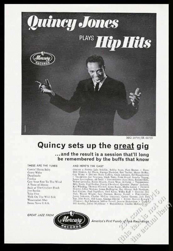 1963 Quincy Jones photo Hip Hits album release Mercury Records vintage print ad