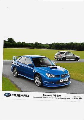 "SUBARU IMPREZA GB270 ORIGINAL 2007 PRESS PHOTO ""Brochure related """
