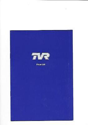 TVR  FULL RANGE PRICE LIST BROCHURE DATED APRIL 2002