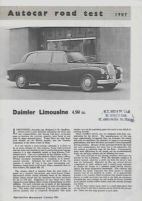 DAIMLER LIMOUSINE 4561cc 'AUTOCAR' MAGAZINE ROAD TEST REPRINT CAR 'BROCHURE'1963