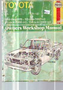 TOYOTA HI-ACE & HI-LUX WORKSHOP SERVICE MANUAL******1978 Sefton Bankstown Area Preview
