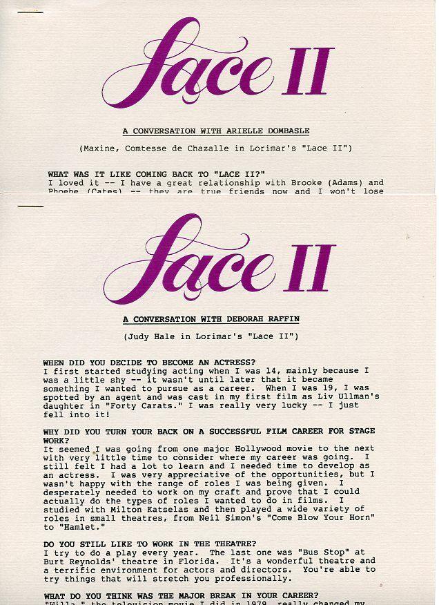 Deborah raffin arielle dombasle lace ii rare original 1985 abc tv press material