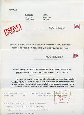 Perry King Joe Penny Stuart Margolin Riptide Original 1985 Nbc Tv Press Material