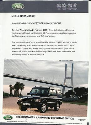 Land Rover Discovery Landmark Original Press Release Photo Brochure Connected