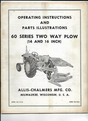 Allis-chalmers 60 Series Two Way Plow Operating Instructions Manual Tm-194a