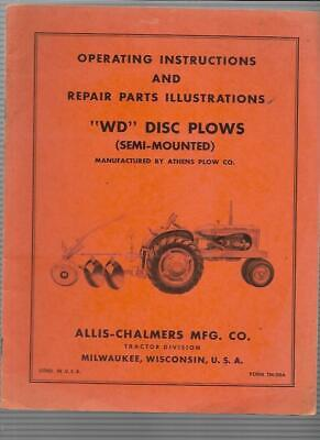 Allis-chalmers Wd Disc Plows Operating Instructions Manual Tm-20a