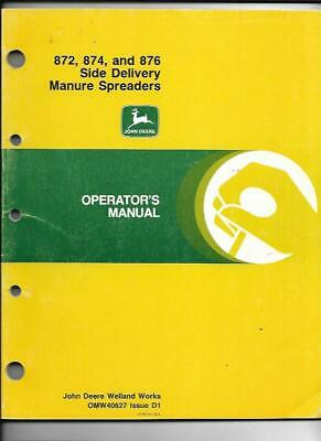 John Deere 872 874 And 876 Side Delivery Manure Spreaders Operators Manual