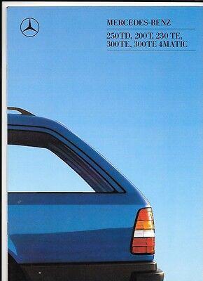 MERCEDES BENZ 250TD 200T 230TE 300TE & 300 TE 4MATIC SALES BROCHURE MARCH 1988
