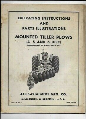 Allis-chalmers Mounted Tiller Plows 45 6 Disc Operating Instructions Manual