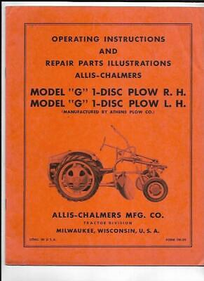 Allis-chalmers Model G 1-disc Plow R.h Lh Operating Instructions Manual