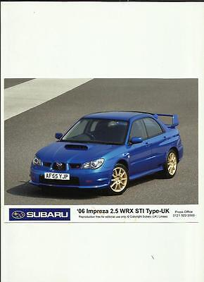"SUBARU IMPREZA 2.5 WRX STI-TYPE-UK ORIGINAL PRESS PHOTO 2006""Brochure related """