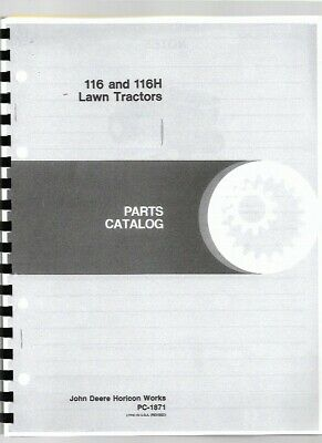 John Deere 116 116h Lawn Garden Tractor Parts Manual Catalog Pc1871