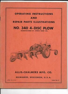 Allis-chalmers No. 340 4-disc Plow Operating Instructions Manual
