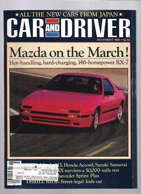 Car and Driver Magazine November 1985- Mazda RX-7, Honda CRX, Honda Accord ()