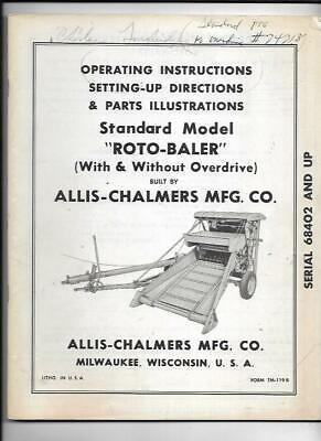Allis-chalmers Standard Model Roto-baler Operating Instructions Manual