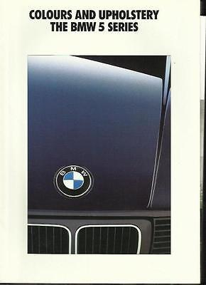 BMW 5 SERIES (INCLUDING TOURING, SE & SPORT) COLOURS & UPHOLSTERY BROCHURE 1992
