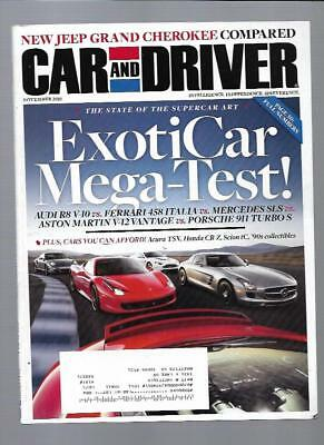 Car and Driver Magazine November 2010-Acura TSX, Audi R8, Mercedes SLS,Scion tC
