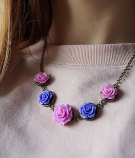 Pink and Purple Roses Resin Necklace