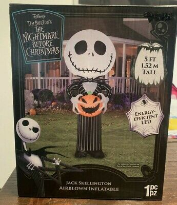 Nightmare Before Christmas 5 Ft Jack Skellington Airblown LED Inflatable Gemmy