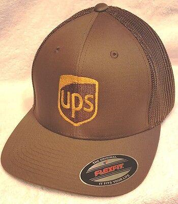 UPS BROWN FLEXFIT SUMMER TIME MESH HAT CUSTOM UPS LOGO EMBROIDERED ON FRONT