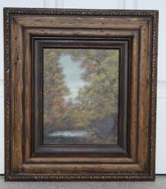 Forest landscape gild framed paint picture House clearance sale!