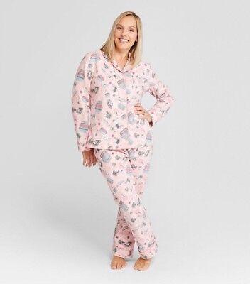 - WONDERSHOP Women's Notch Collar Cozy Pink Pajamas
