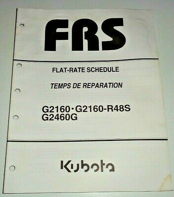 Kubota G2160 G2460g R48s Garden Tractor Flat Rate Schedule Repair Time Manual