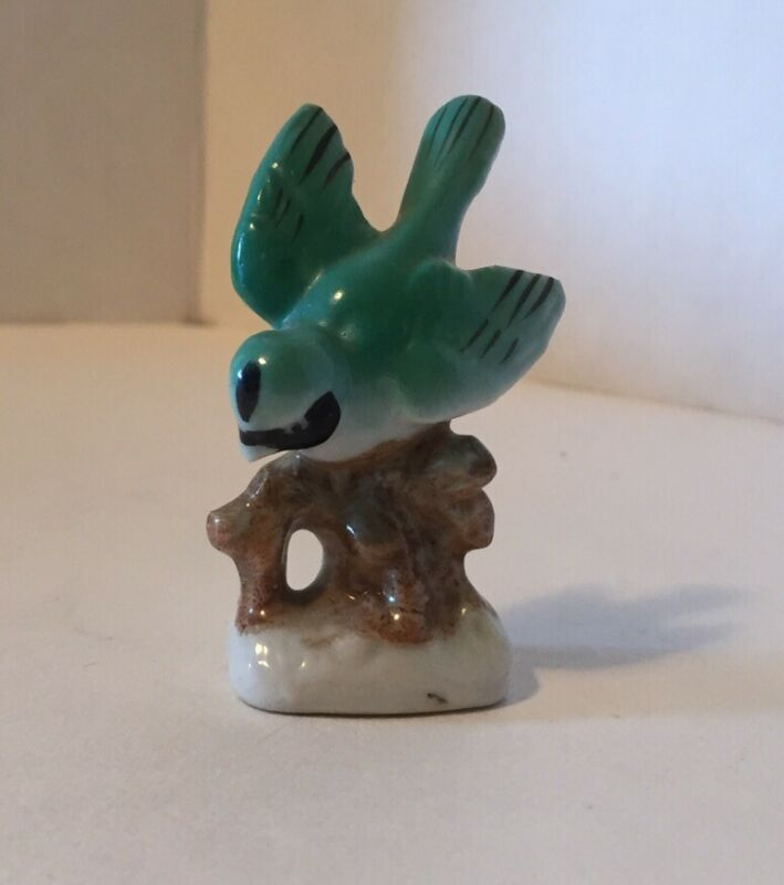 "Vintage Ceramic Blue Bird Figurine Jay Cardinal on Branch Made in Japan Small 3"""