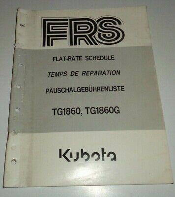 Kubota Tg1860 Tg1860g Lawn Garden Tractor Flat Rate Schedule Repair Time Manual