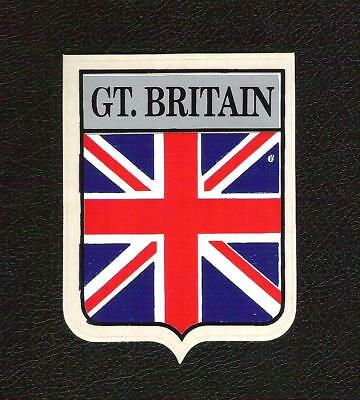 Vintage Sticker - GREAT BRITAIN flag shield  British Sports Cars, Jaguar, MG etc Great Britain Flag