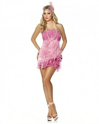 Sexy Halloween Adult Pink Flamingo Flapper Roaring 20's Girl Costume w Necklace