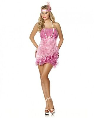 Sexy Halloween Adult Pink Flamingo Flapper Roaring 20's Girl Costume w Necklace](Pink Flapper Girl Costume)