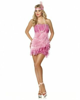 MYSTERY HOUSE SEXY FLAMINGO FLAPPER HALLOWEEN COSTUME BURLESQUE PINK FEATHERS - Flamingo Halloween Costumes