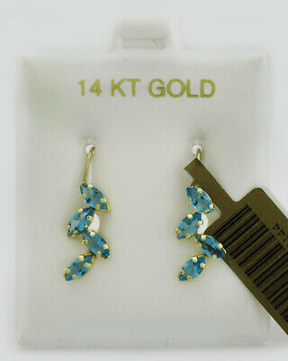 GENUINE 2.42 Cts BLUE TOPAZ DANGLING EARRINGS 14K YELLOW GOLD * New With Tag *