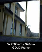 3x 2500 x 920 GOLD Frame Mirror Wardrobe Sliding Doors + Tracks Penrith Penrith Area Preview