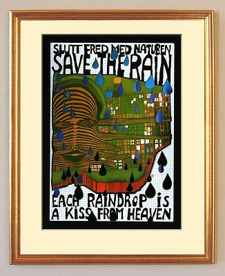 Green Power Save the Rain Raindrop Regen Friedensreich Hundertwasser gerahmt 02