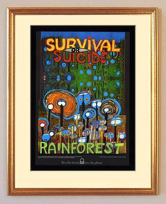 Rainforest Survival or Suicide Regenwald Friedensreich Hundertwasser gerahmt 03