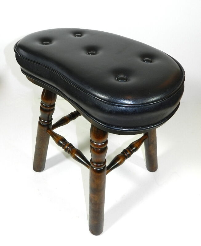 Vintage Wood Foot Stool Black