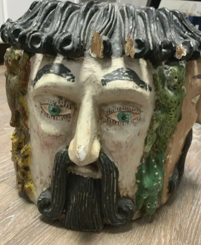 Vintage Mexican Mask Carved & Painted Wood Guerrero Mexico Four Face Helmet Mask