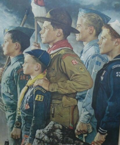 Vintage Framed Norman Rockwell Boy Scouts Of America Print  - Forward America